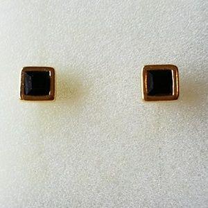 Jewelry - BLACK & GOLD POST EARRINGS